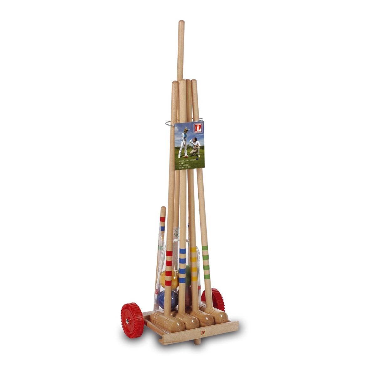 Kroket LUCIO LONDERO pro 4 hráče na dřevěném vozíku