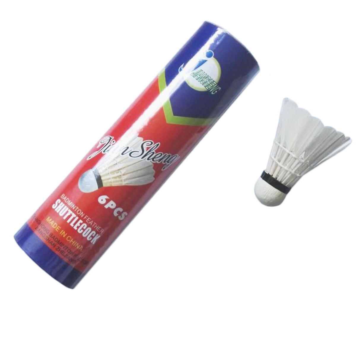 Badmintonové míčky peří 6 ks - zelený pruh