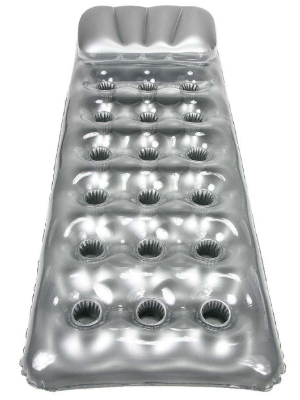 Nafukovací lehátko stříbrné s otvory 188 x 71cm