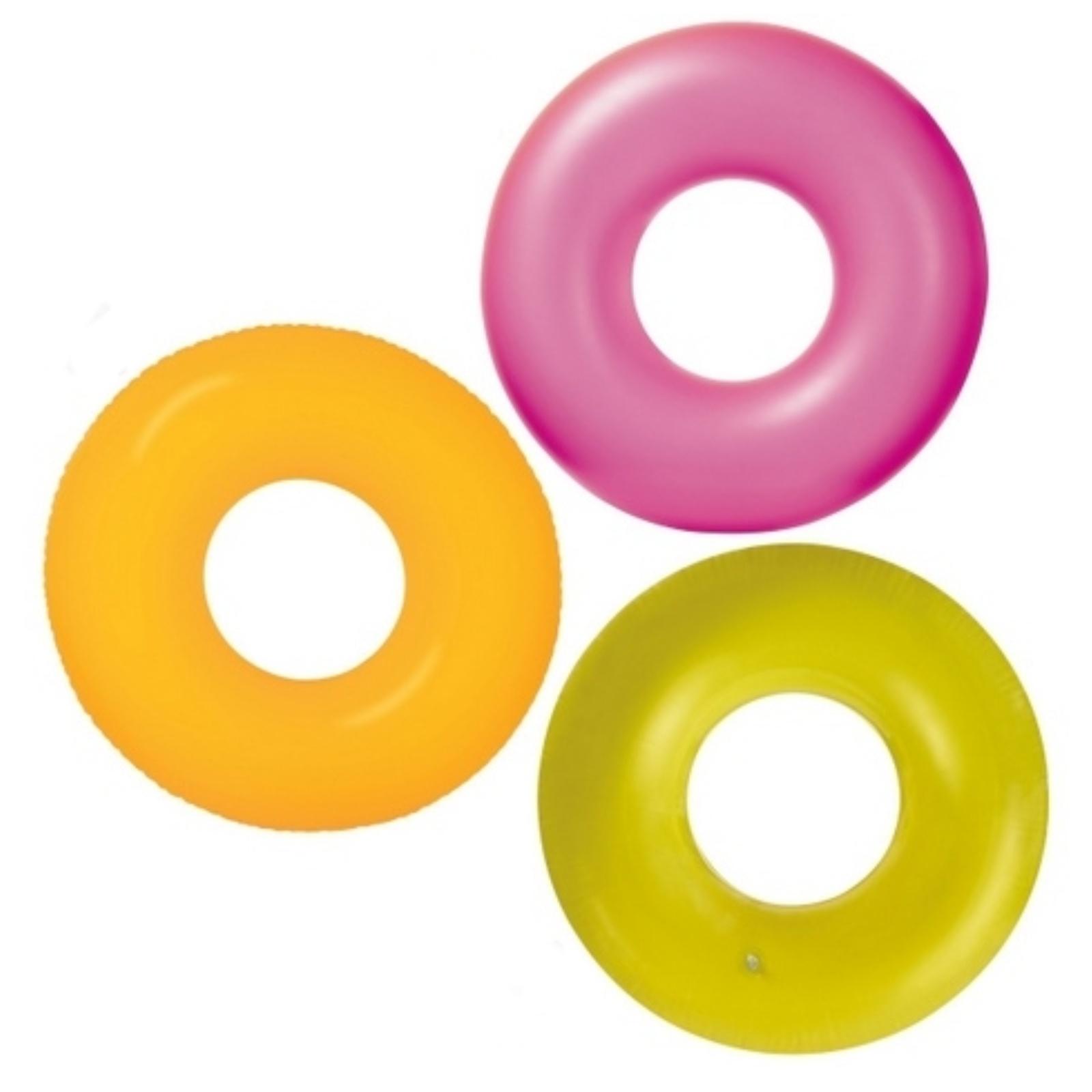 Nafukovací kruh neon 91 cm - žlutý