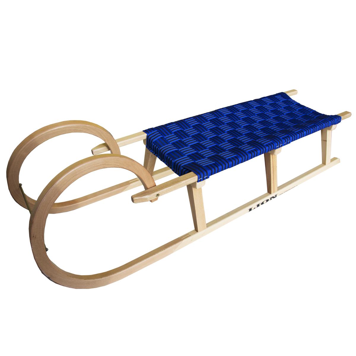 Sáně dřevěné LION BOHEMIA rohačky délka 125 cm - modré