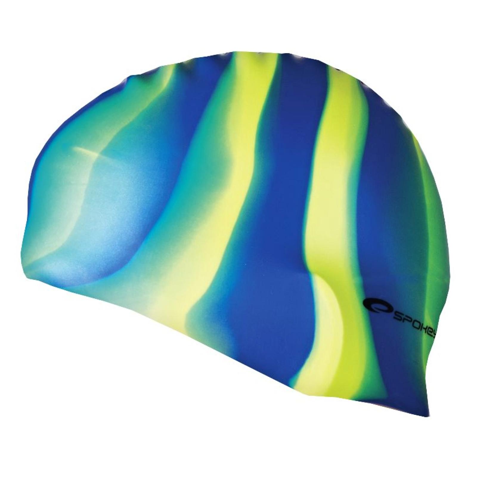 Plavecká čepice SPOKEY Abstract - modro-žluté pruhy