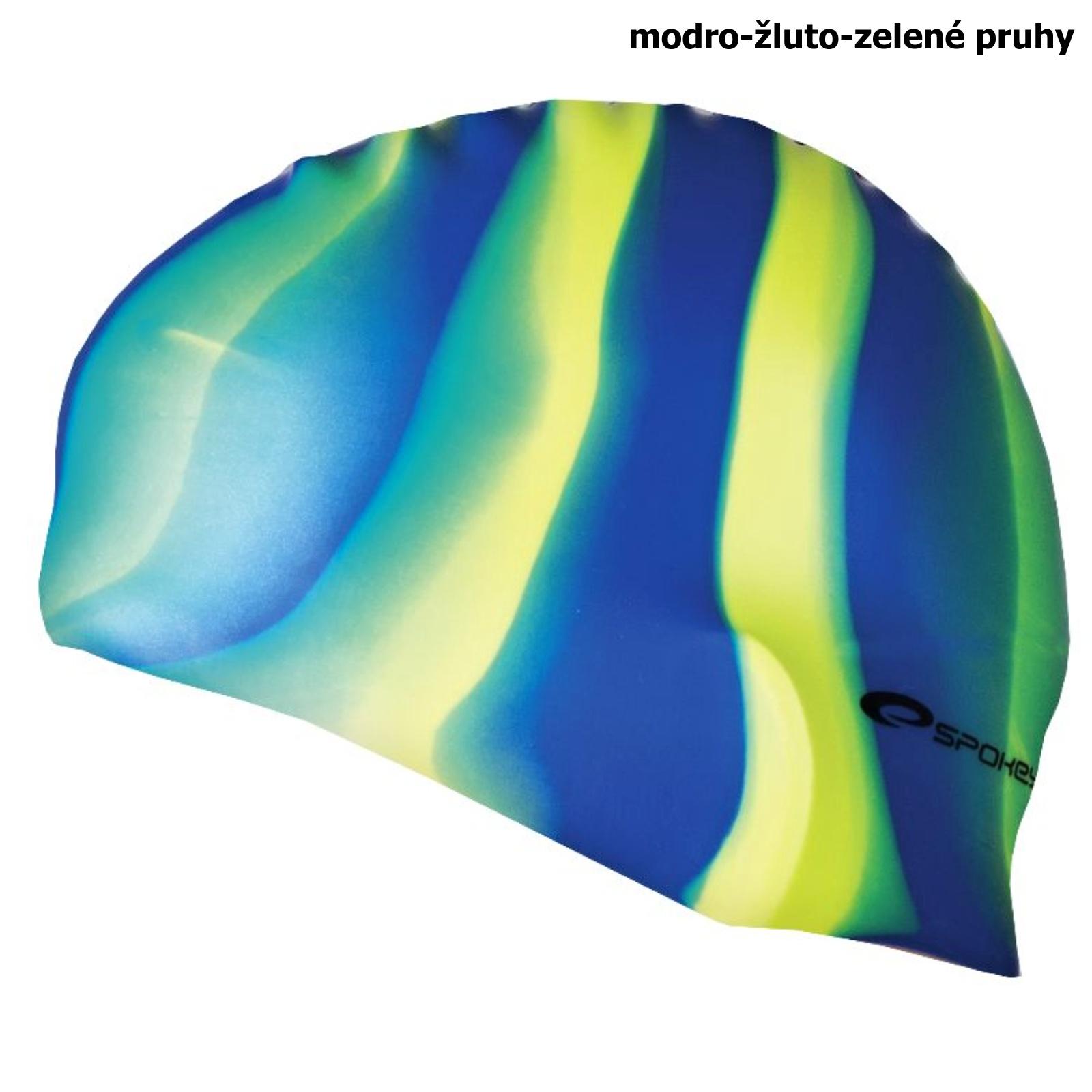 Plavecká čepice SPOKEY Abstract - modro-žluto-zelená