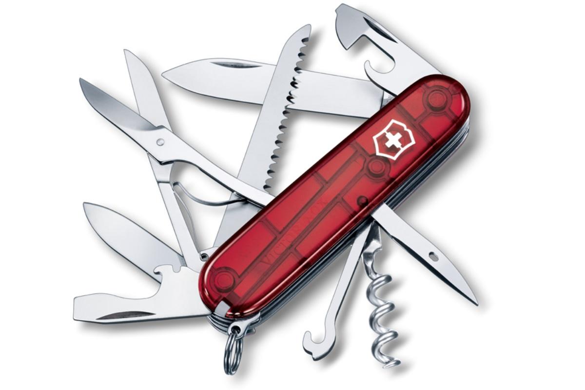 Kapesní nůž VICTORINOX Huntsman - průhledně červený