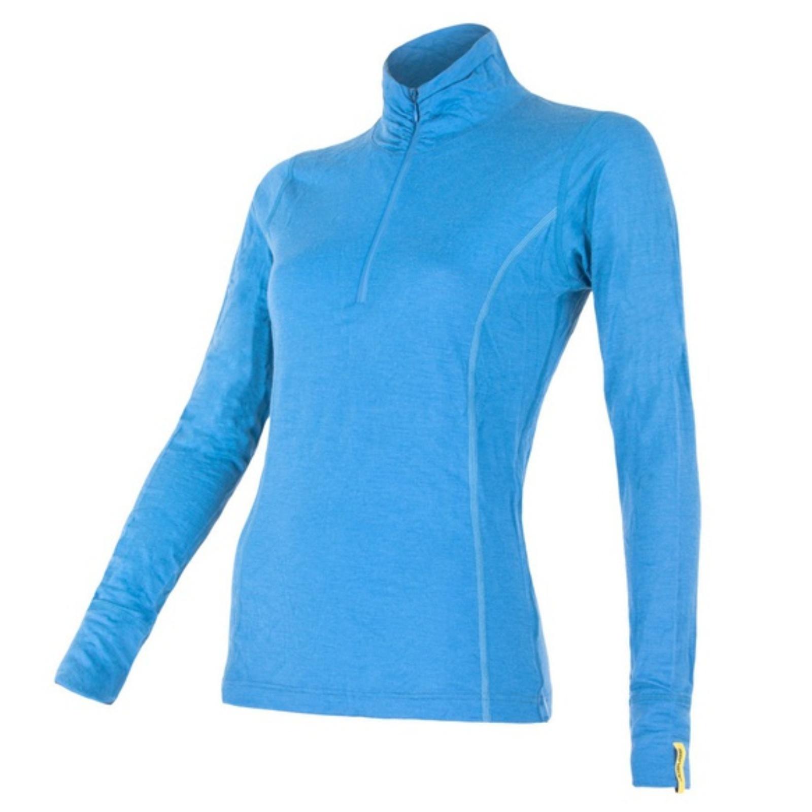 Triko dl. ruk. SENSOR Merino Wool Active dám. zip modré - vel. L