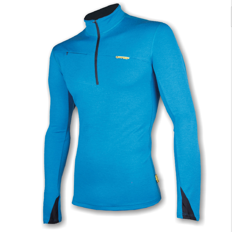 Mikina SENSOR Merino Wool krátký zip pán. L modrá