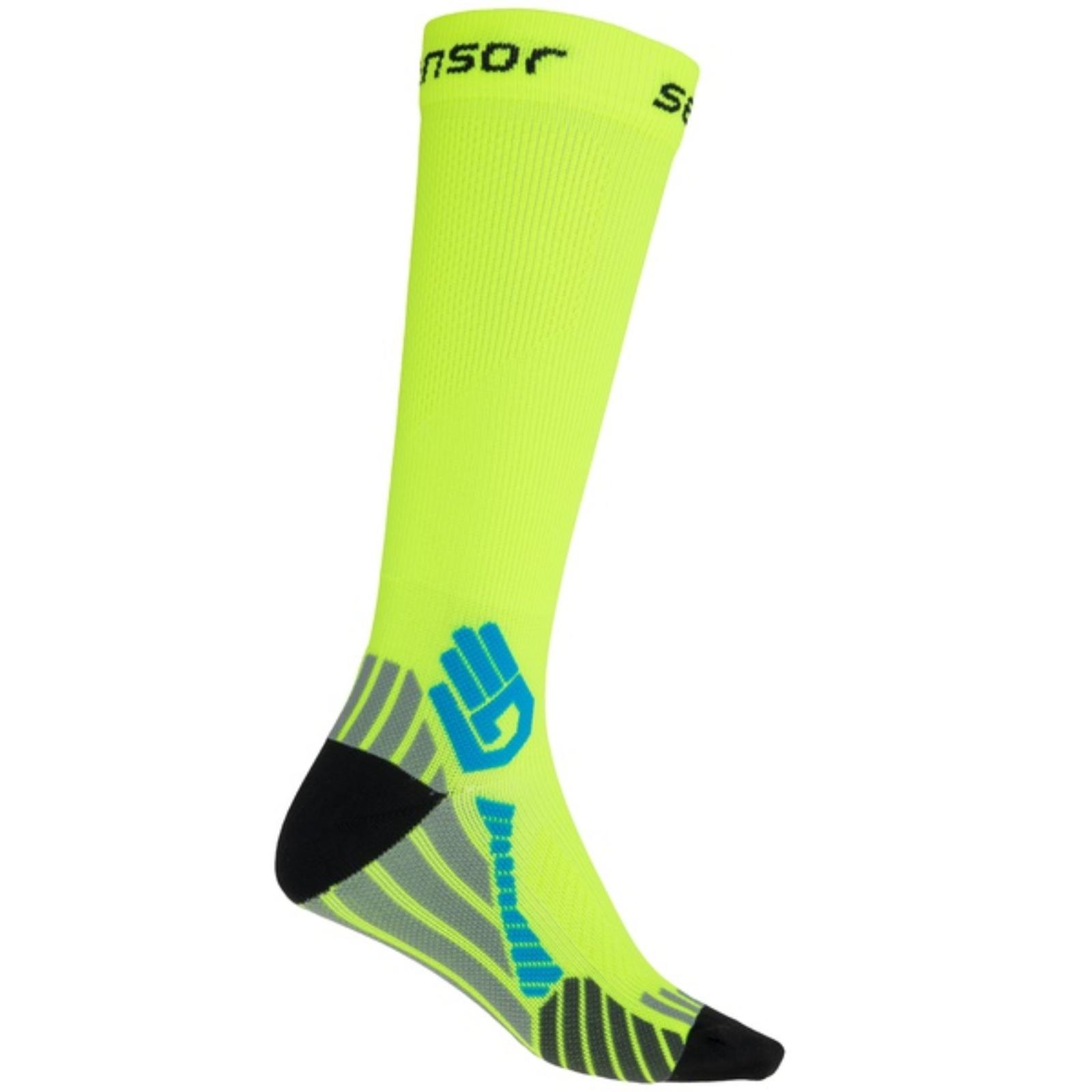 Ponožky SENSOR Compress reflexní žluté - vel. 9-11