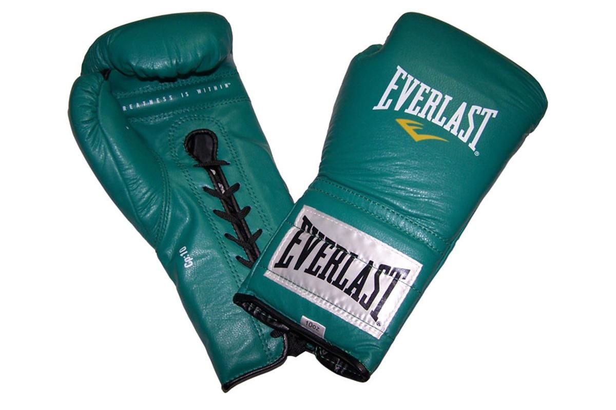 Boxerské kožené šněrovací rukavice EVERLAST 10oz. zelené