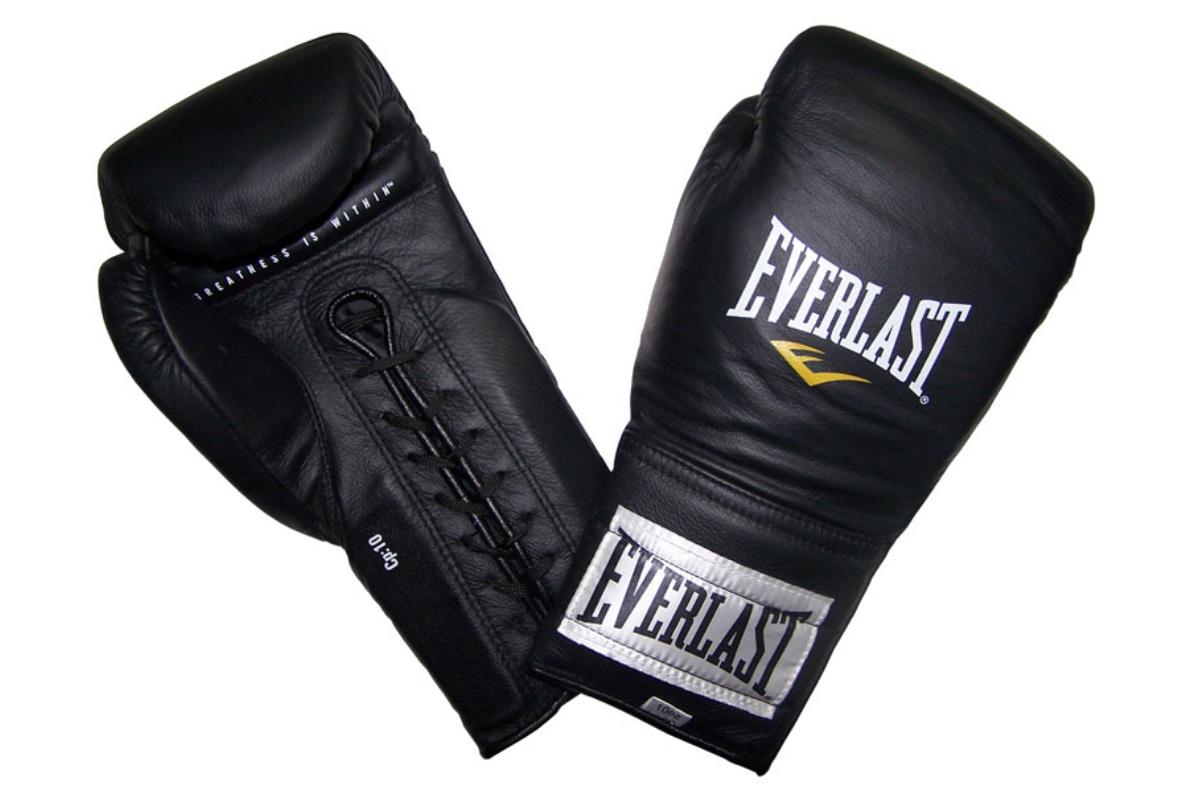 Boxerské kožené šněrovací rukavice EVERLAST 10oz. černé