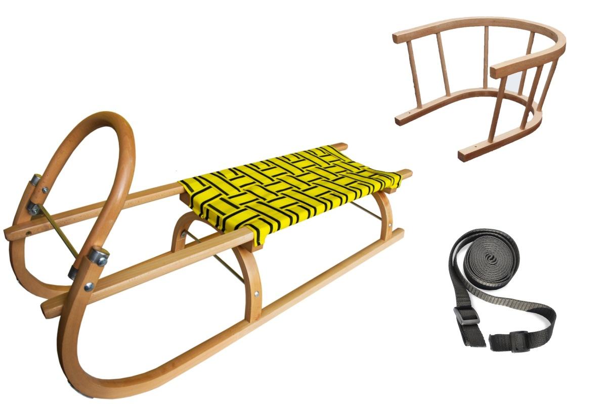 Sáně dřevěné SULOV 110 cm + ohrádka + popruh