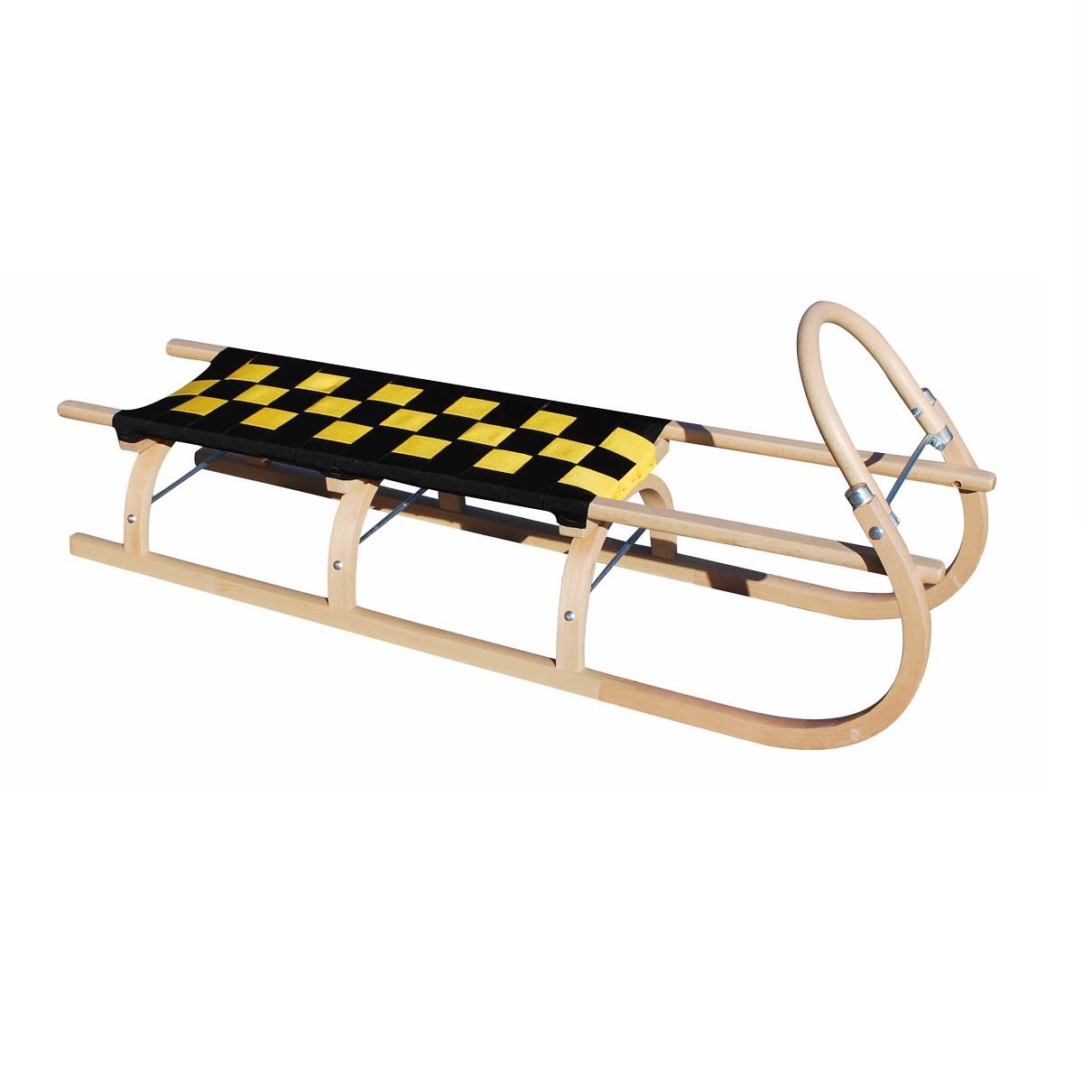 Sáně dřevěné SULOV 67 délka 125 cm - černo-žluté