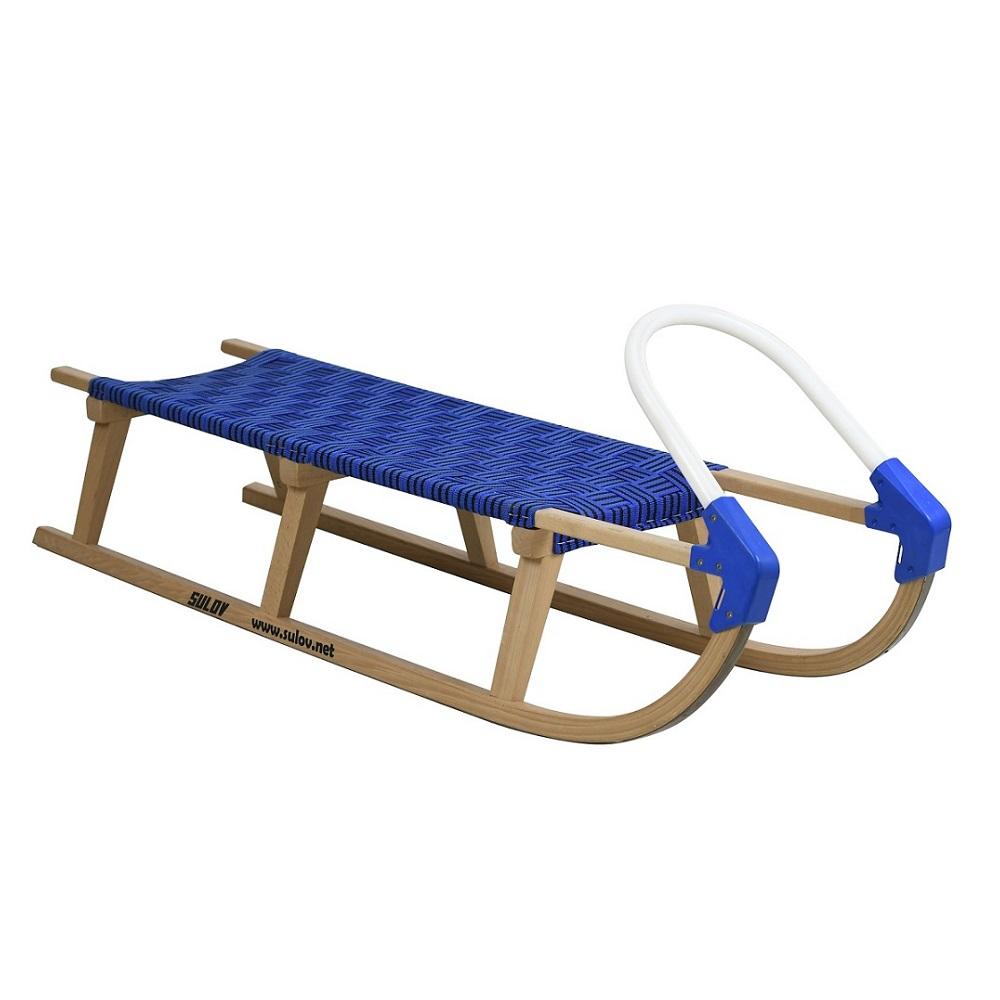 Sáně dřevěné SULOV Lavina délka 125 cm - modro-černé