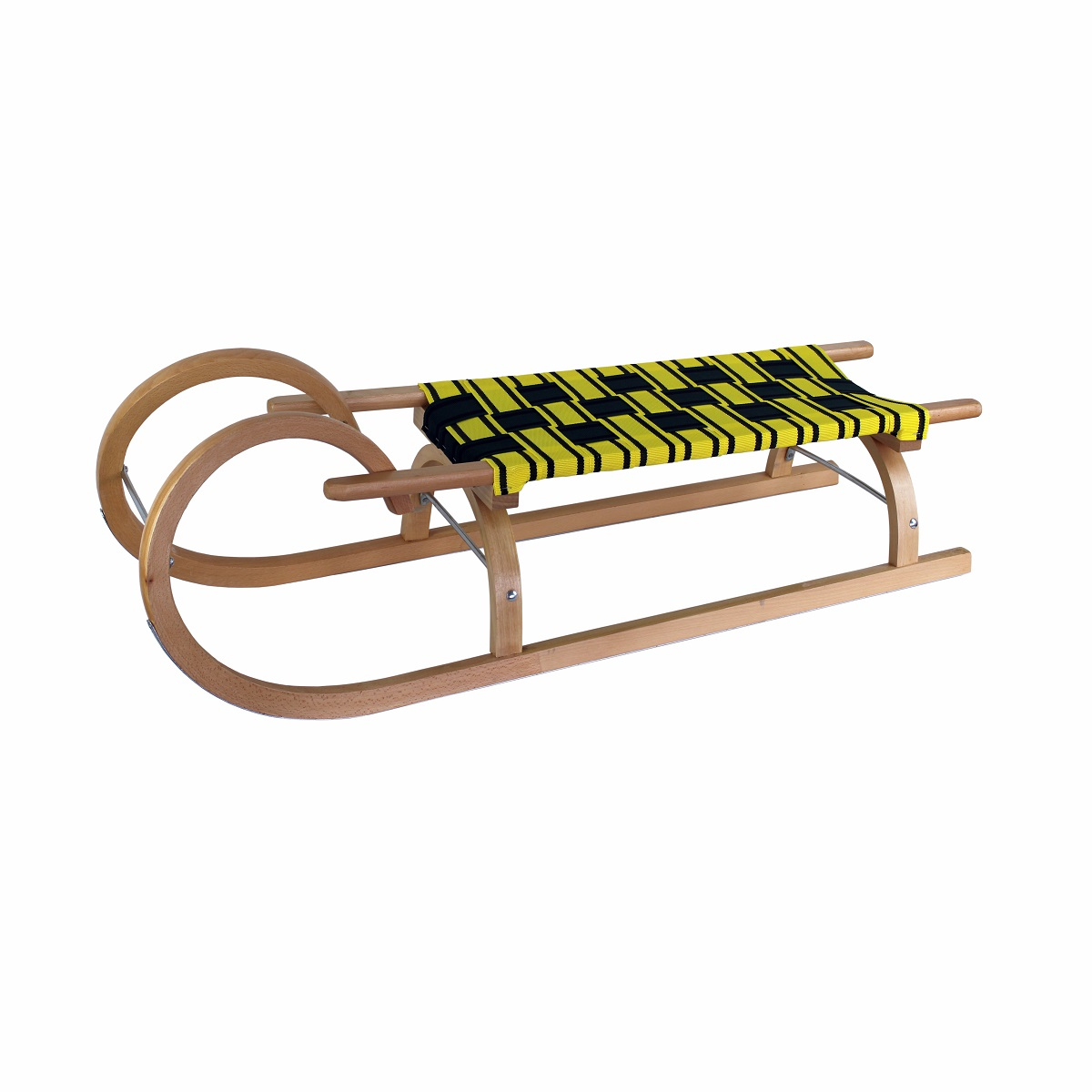 Sáně dřevěné rohačky délka 110 cm - žluto-tm.zelené