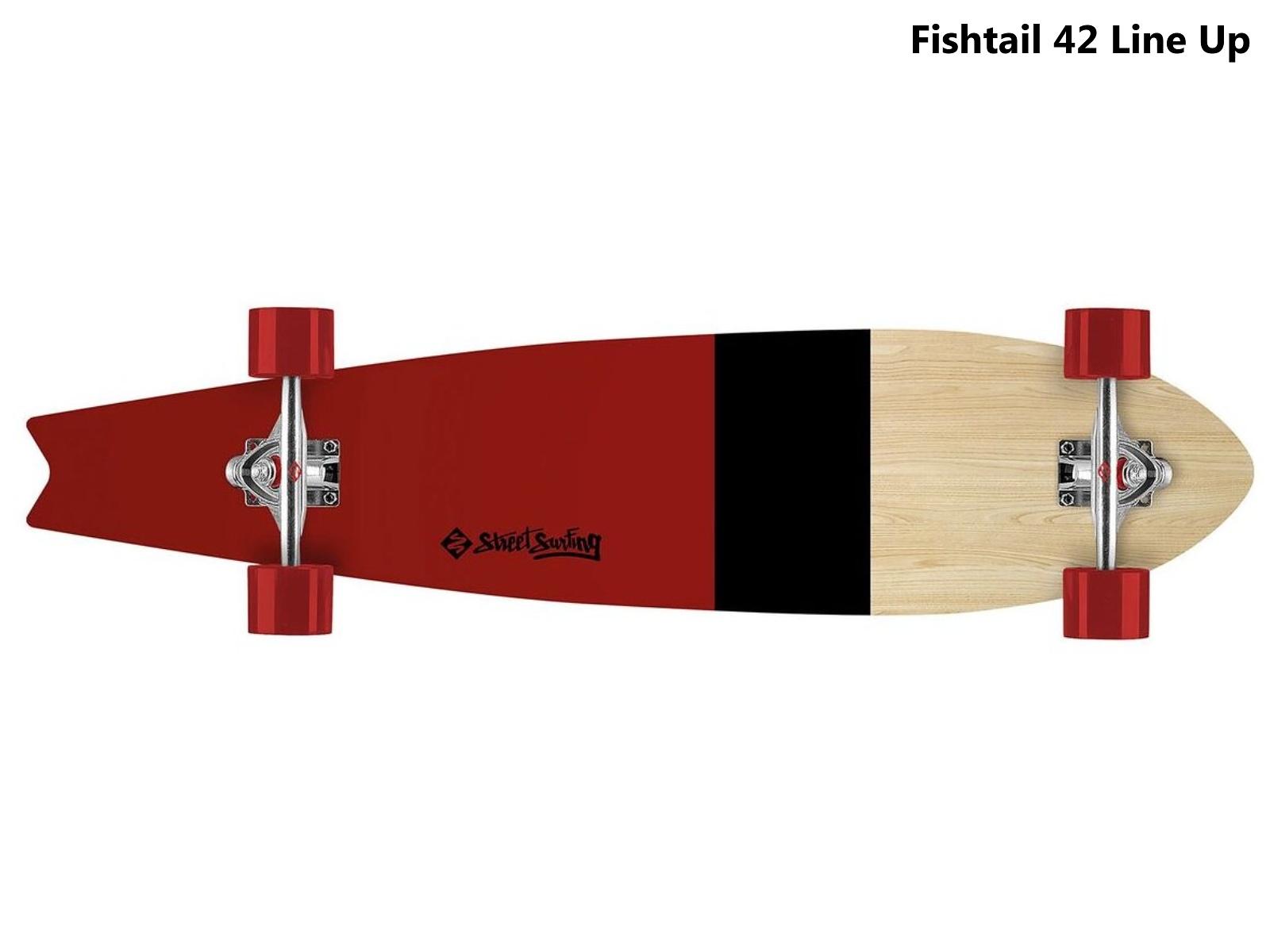 Longboard STREET SURFING Fishtail 42 Line Up - vínovo/černý pruh