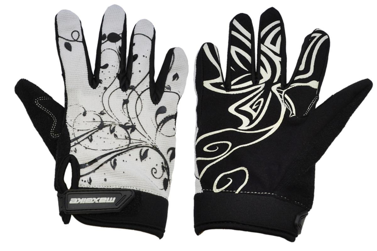 Cyklo rukavice MAXBIKE dámské celoprsté vel. L bílo-černé