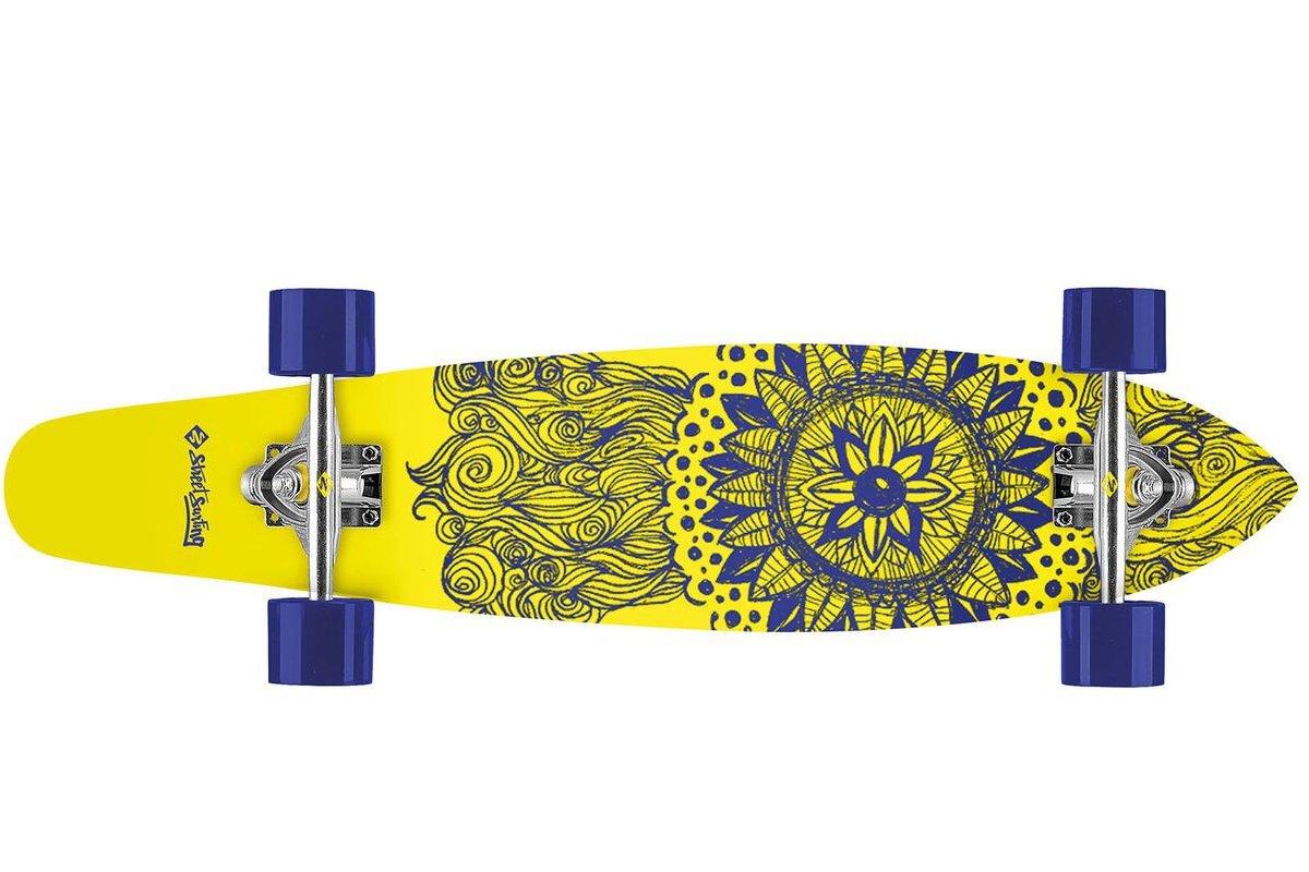 Longboard STREET SURFING Kicktail 36 Mandala Massala - žluto-modrý