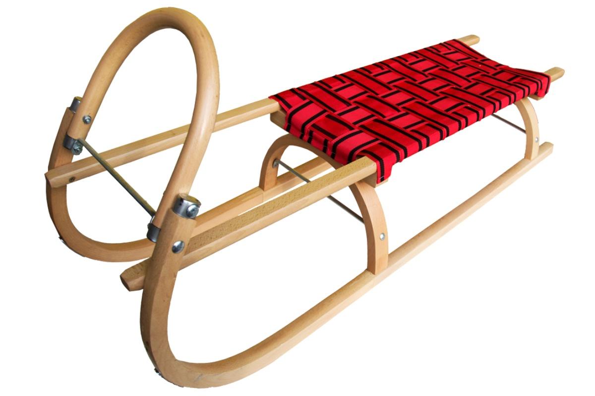 Sáně dřevěné SULOV 110 cm + ohrádka + popruh - červené