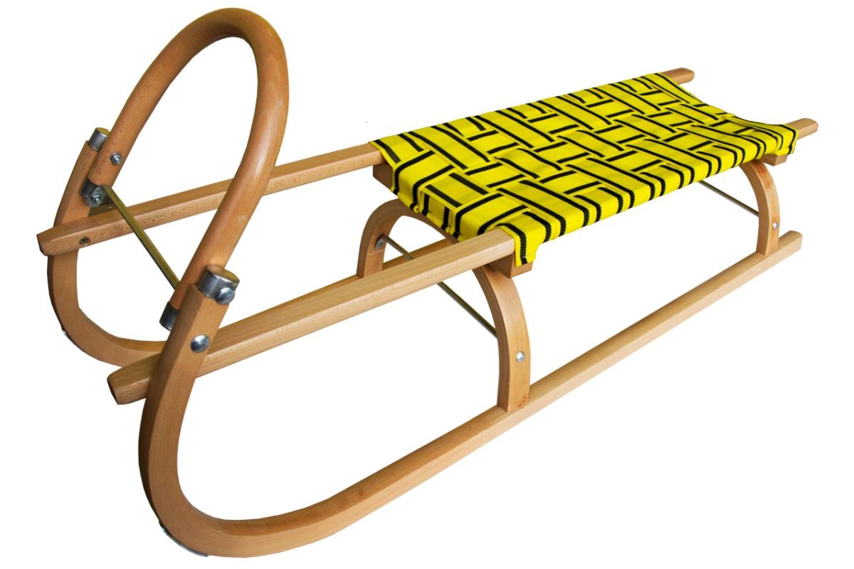 Sáně dřevěné SULOV 110 cm + ohrádka + popruh - žluté