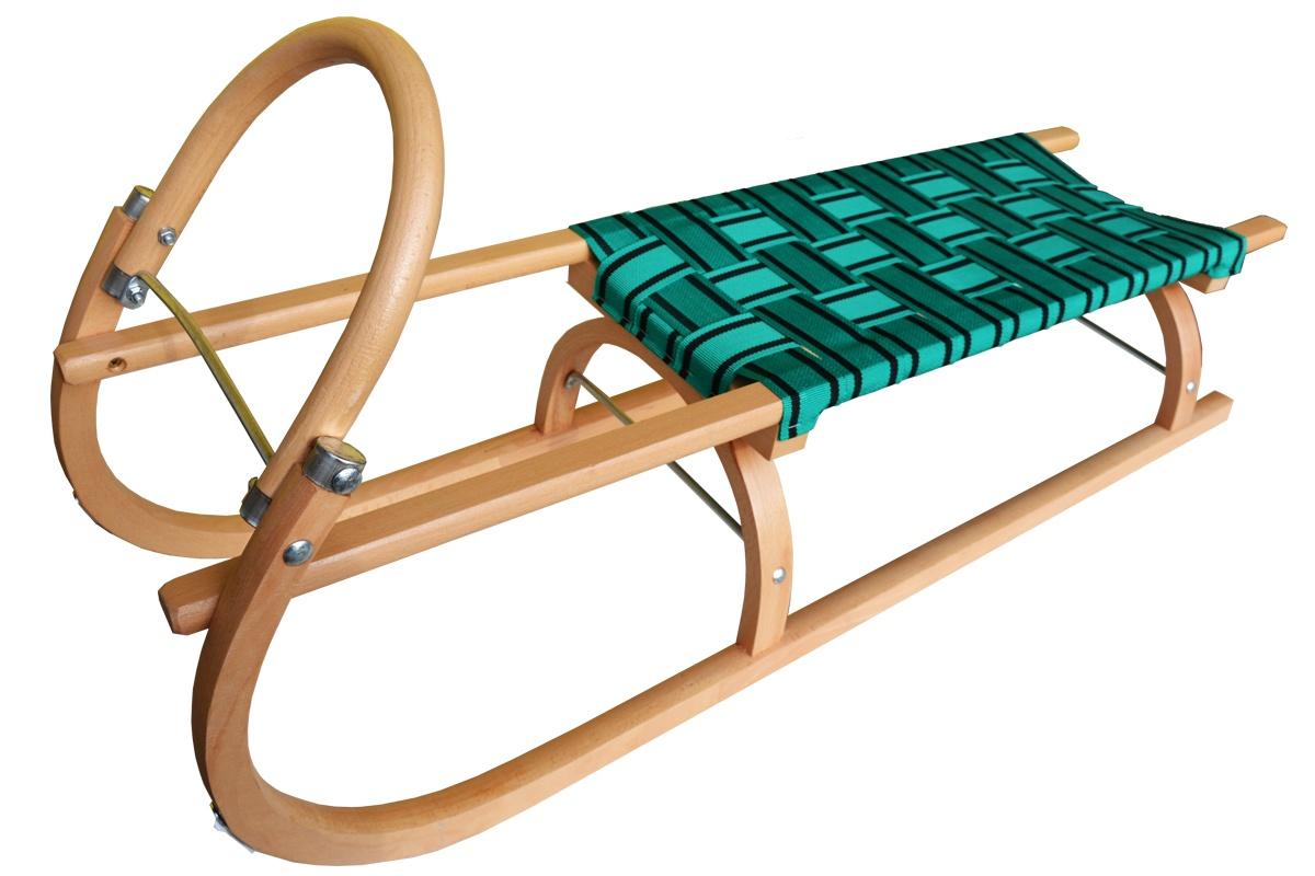 Sáně dřevěné SULOV 110 cm + ohrádka + popruh - zelené