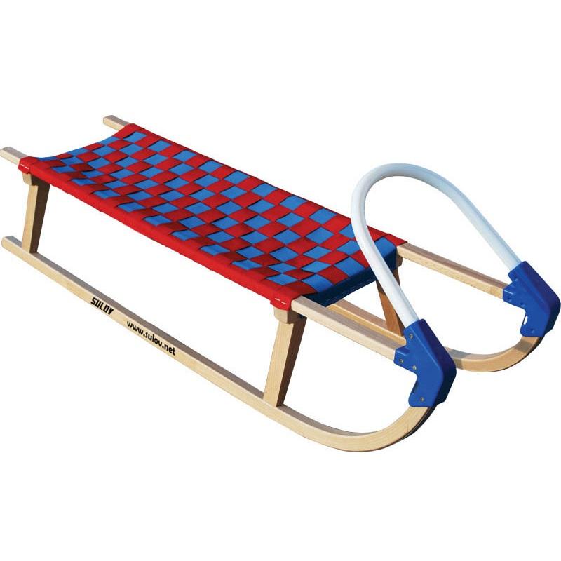Sáně dřevěné SULOV Lavina délka 110 cm - modro-červené