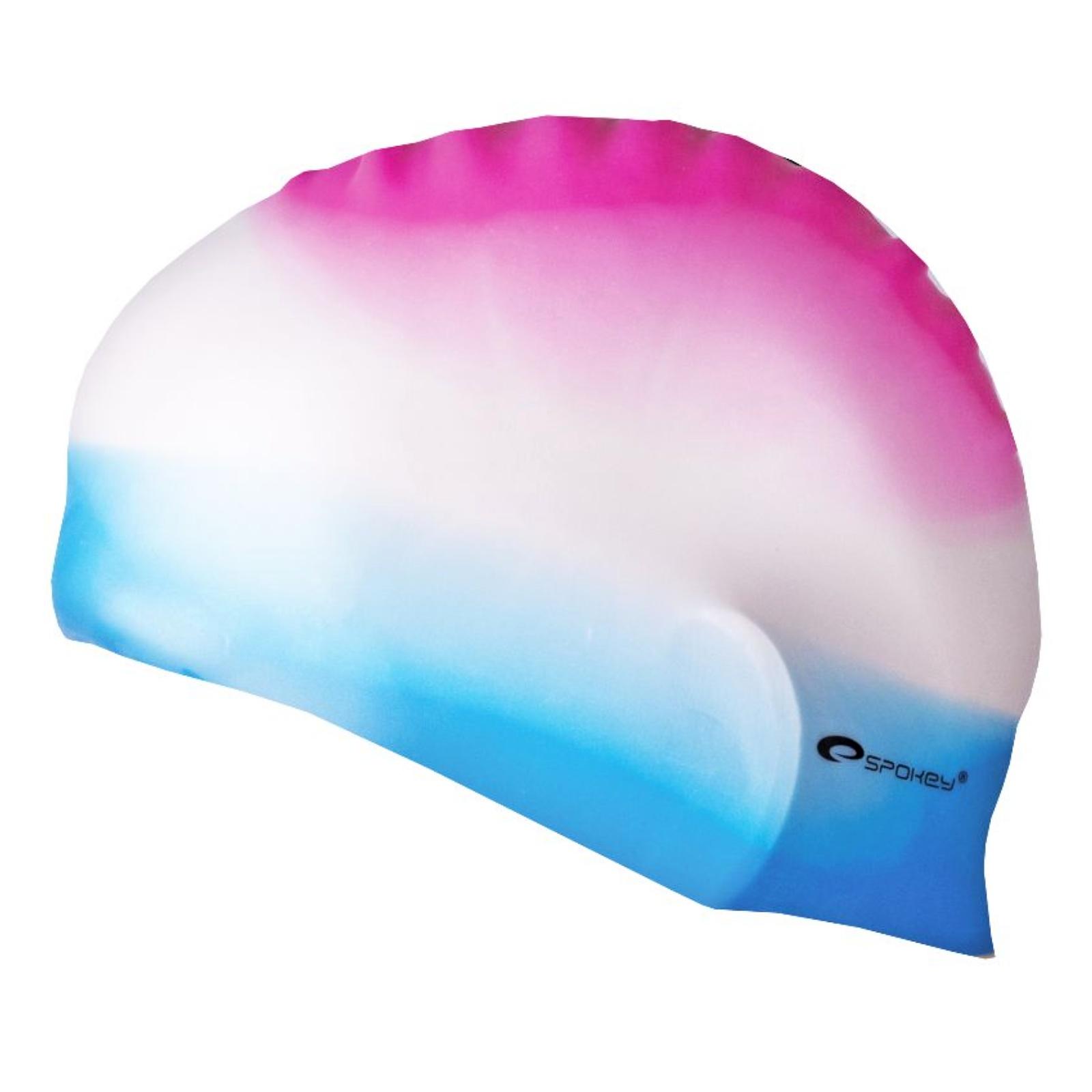 Plavecká čepice SPOKEY Abstract - růžovo-bílo-modrá