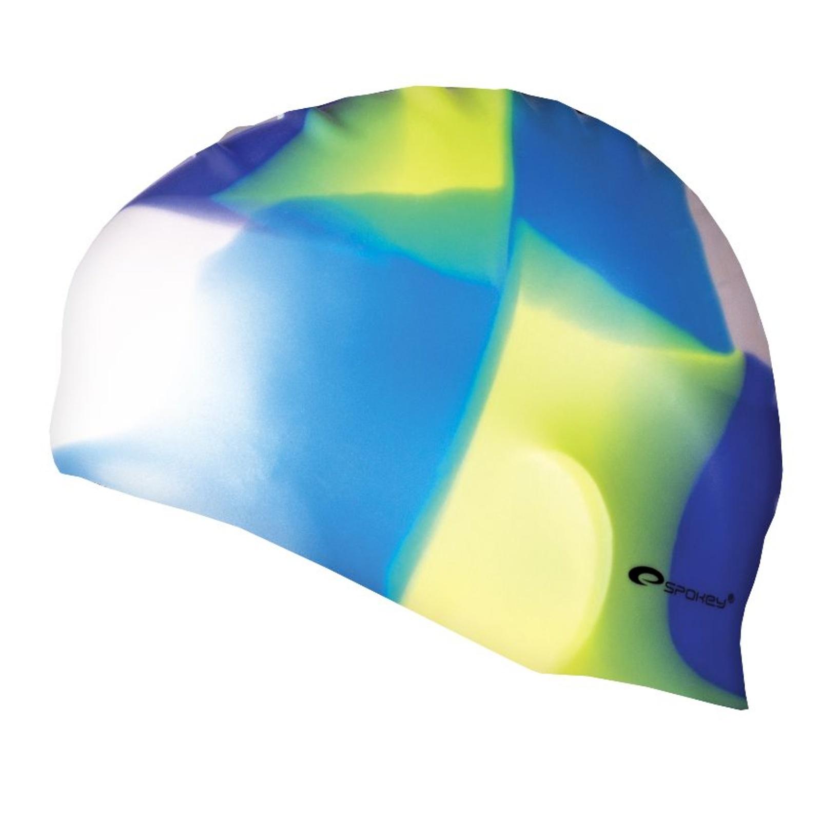 Plavecká čepice SPOKEY Abstract - modro-žlutozelená