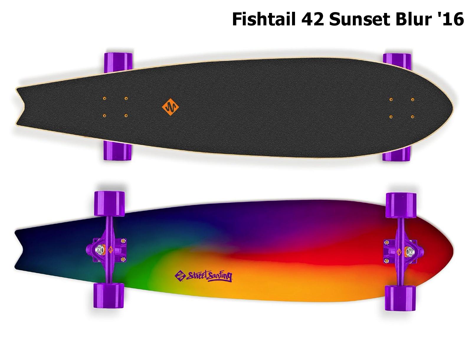 Longboard STREET SURFING Fishtail 42 Sunset Blur - duhový 2016