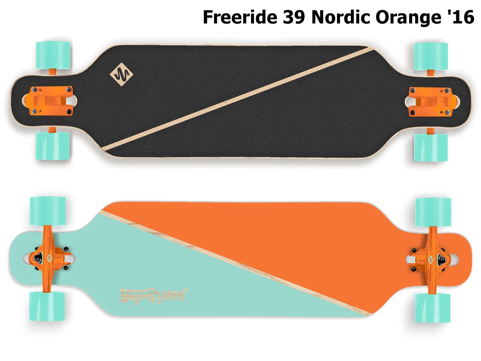 Longboard STREET SURFING Freeride 39 Nordic Orange - modro-oranžový