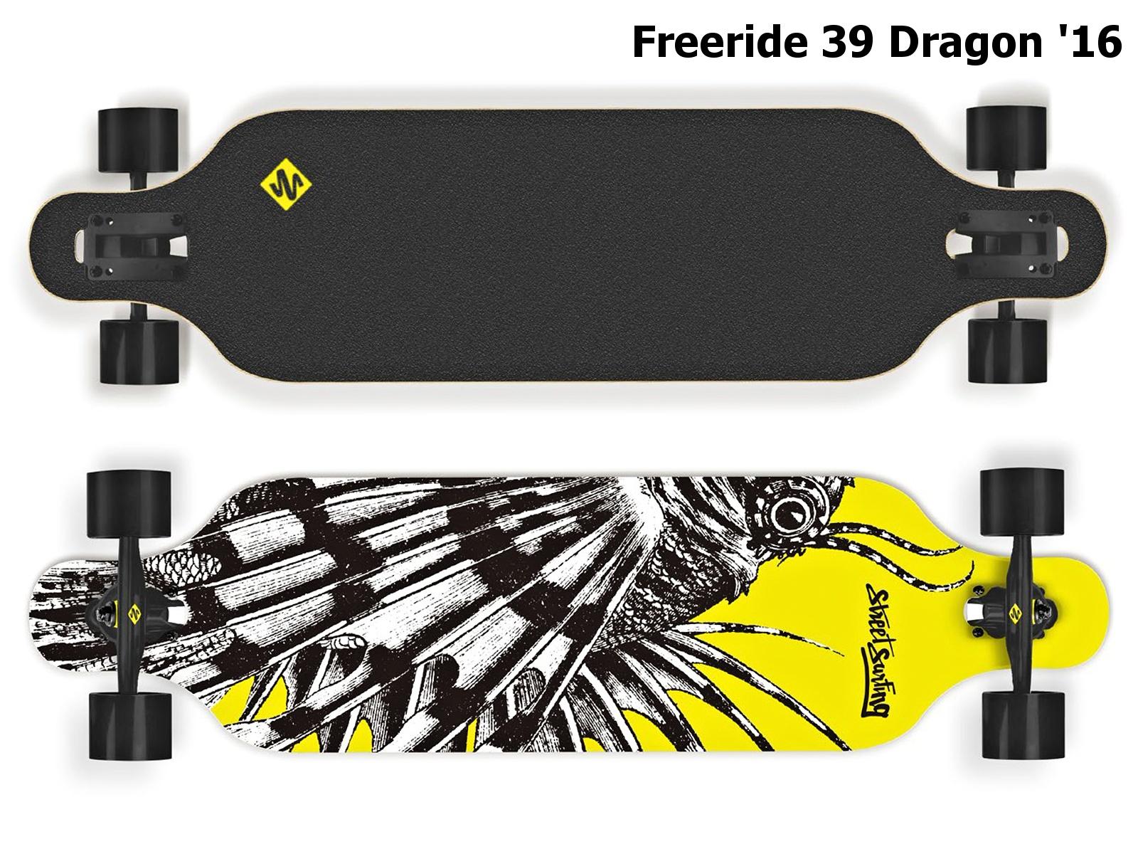 Longboard STREET SURFING Freeride 39 Dragon - žlutý 2016