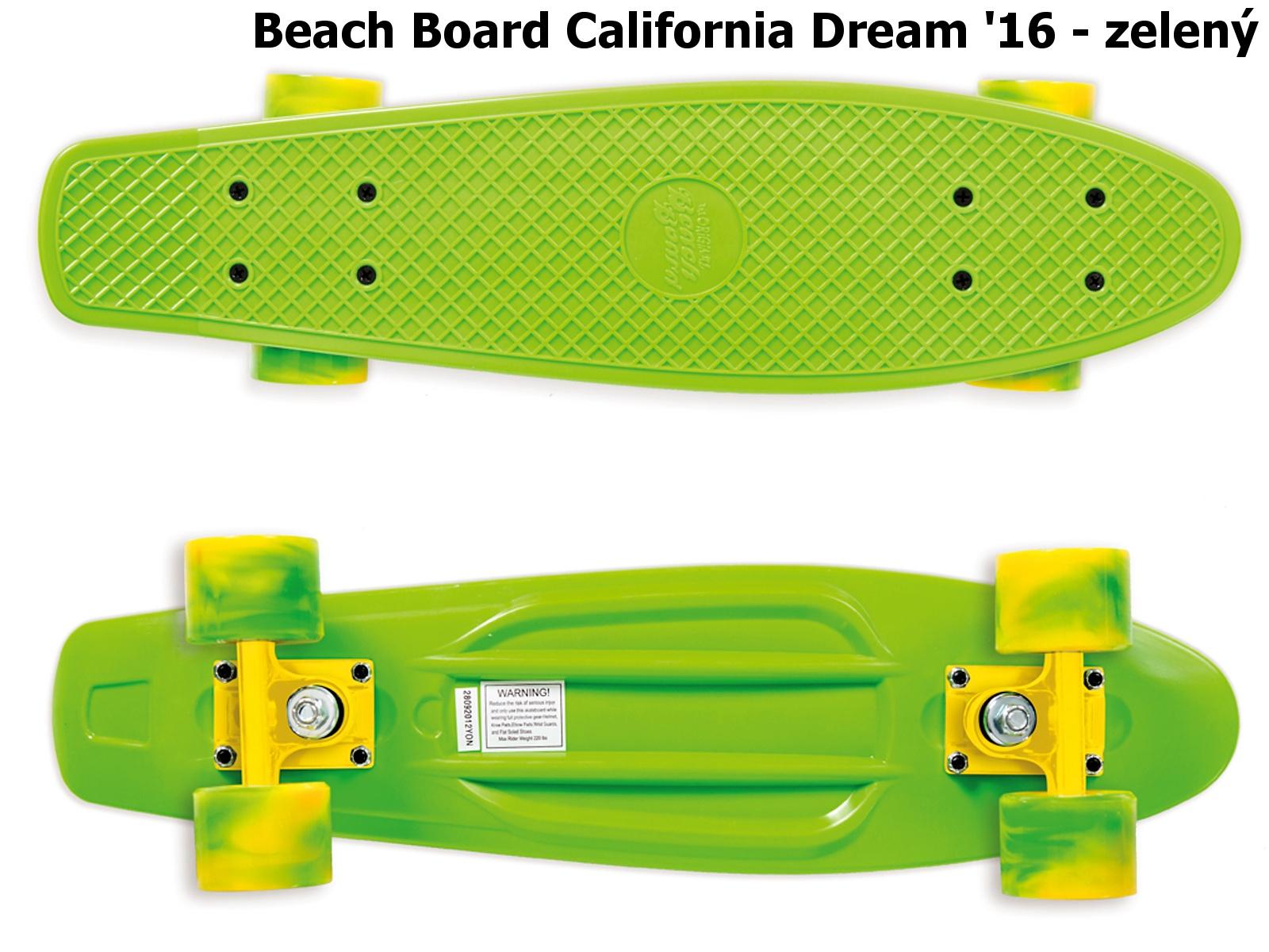 Skateboard STREET SURFING Beach Board California Dream - zelený