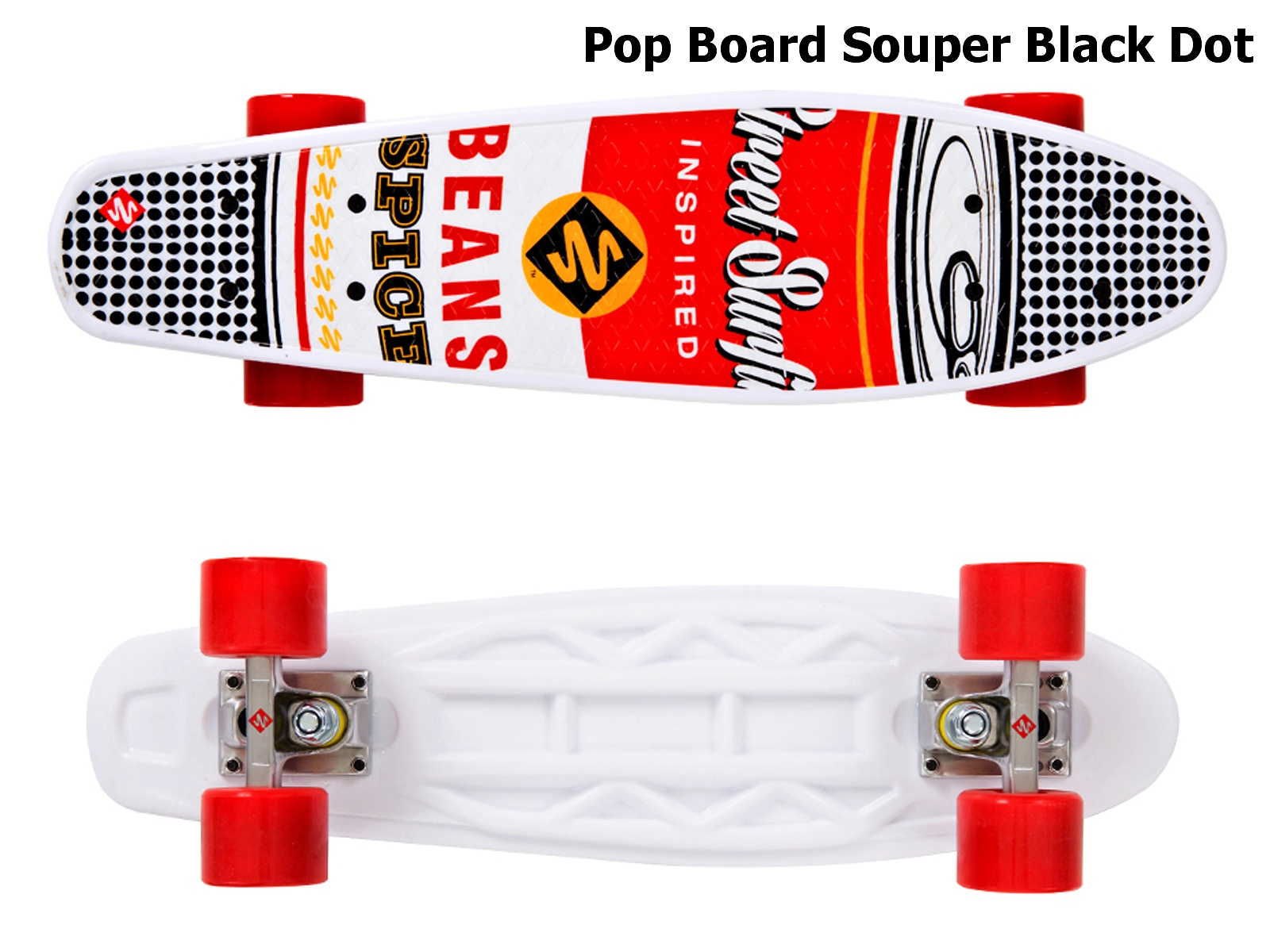 Skateboard STREET SURFING Pop Board Souper Black Dot