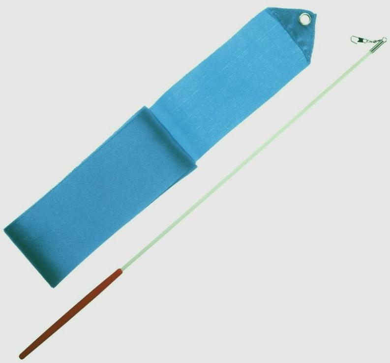 Gymnastická stuha 3m + tyčka junior - tyrkysová