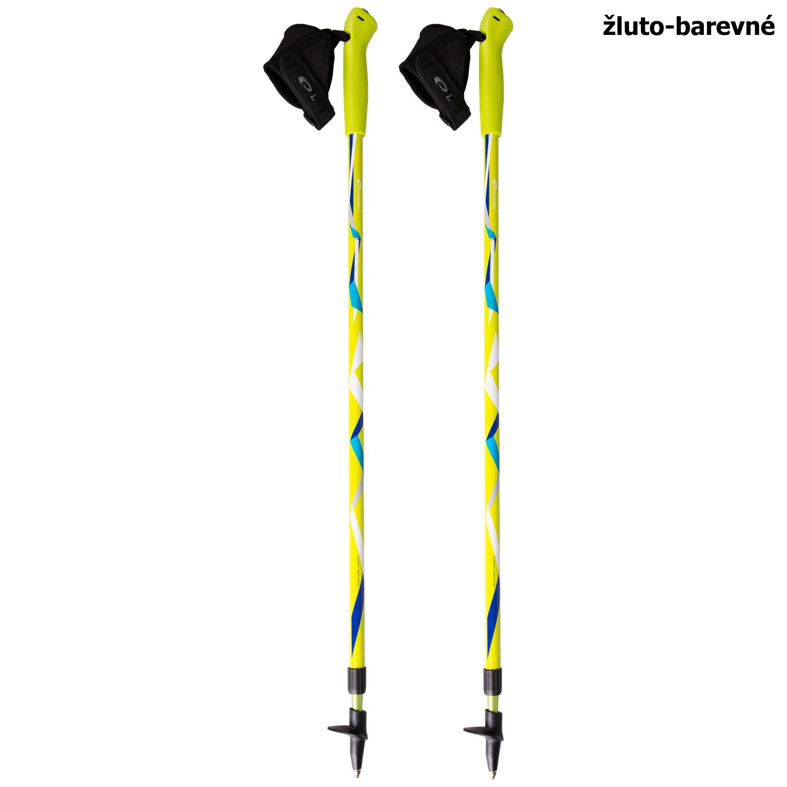 Trekingové hole SPOKEY Zigzag Nordic Walking - žluto-barevné
