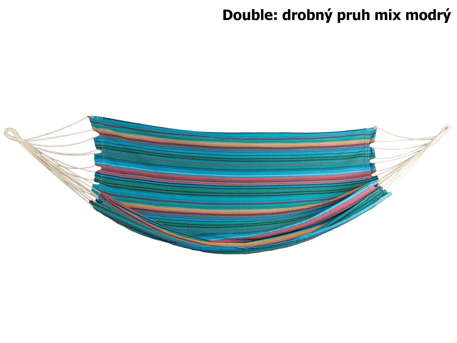 Houpací síť SPOKEY Double, drobný pruh mix modrý