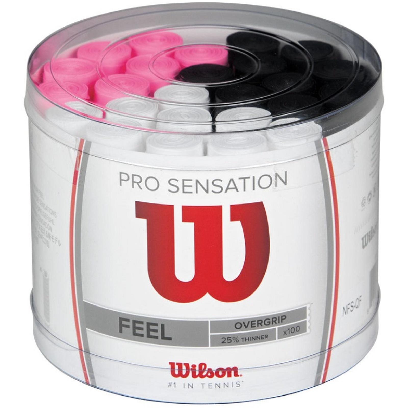 Squash omotávka WILSON Pro Overgrip Sensation 100ks 0,4mm (2.jakost)