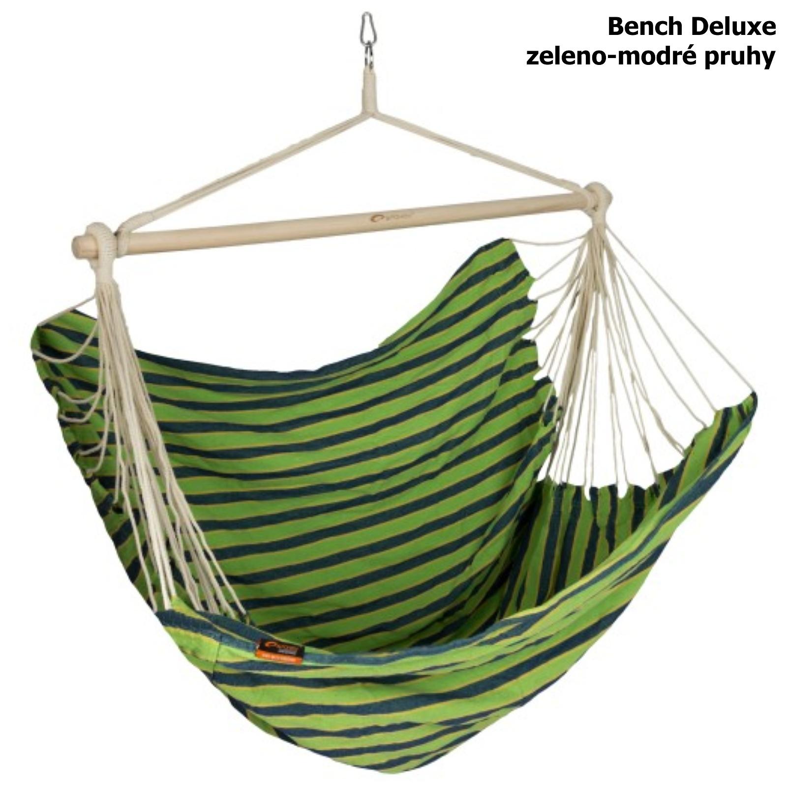 Houpací sedačka SPOKEY Bench Deluxe zeleno-modré pruhy
