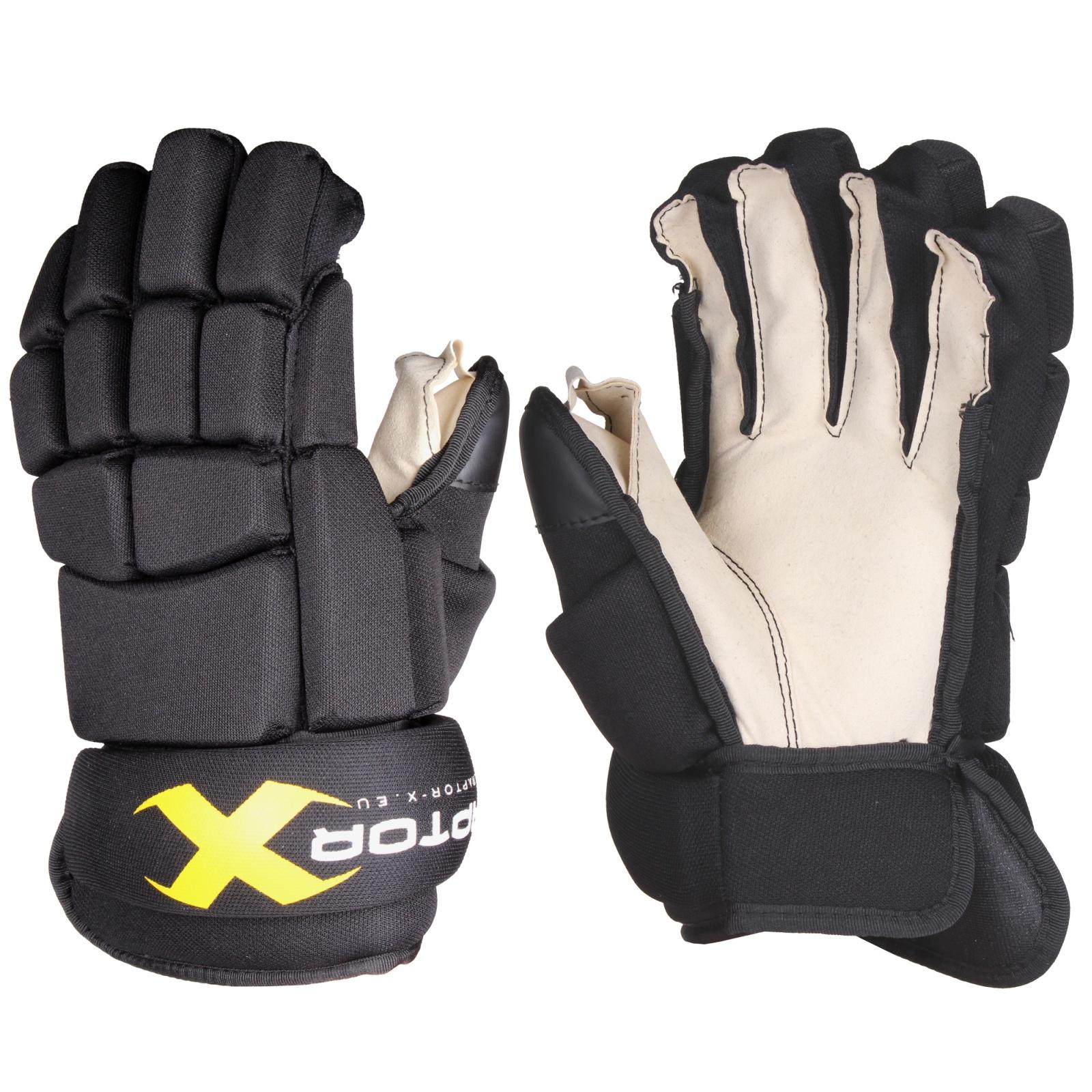 """Hokejové rukavice Raptor-X junior, černé vel. 12"""""""
