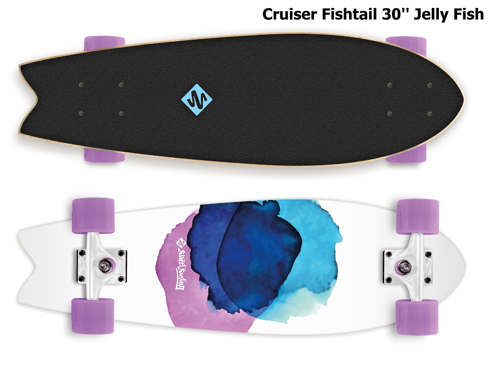 Skateboard STREET SURFING Cruiser Fishtail 30'' Jelly Fish
