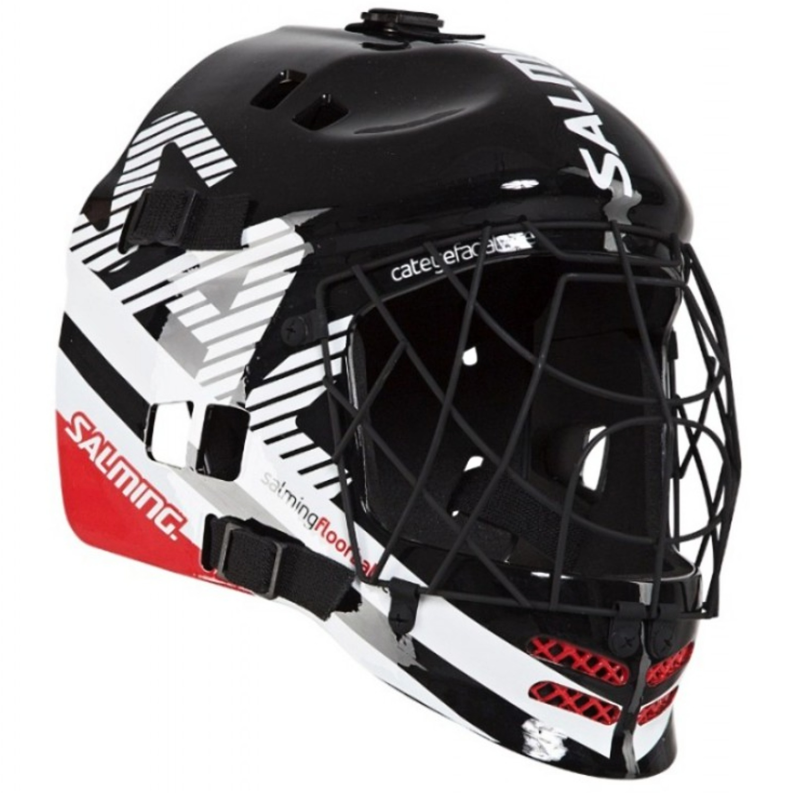 Florbalová maska SALMING Core Helmet černo-červená