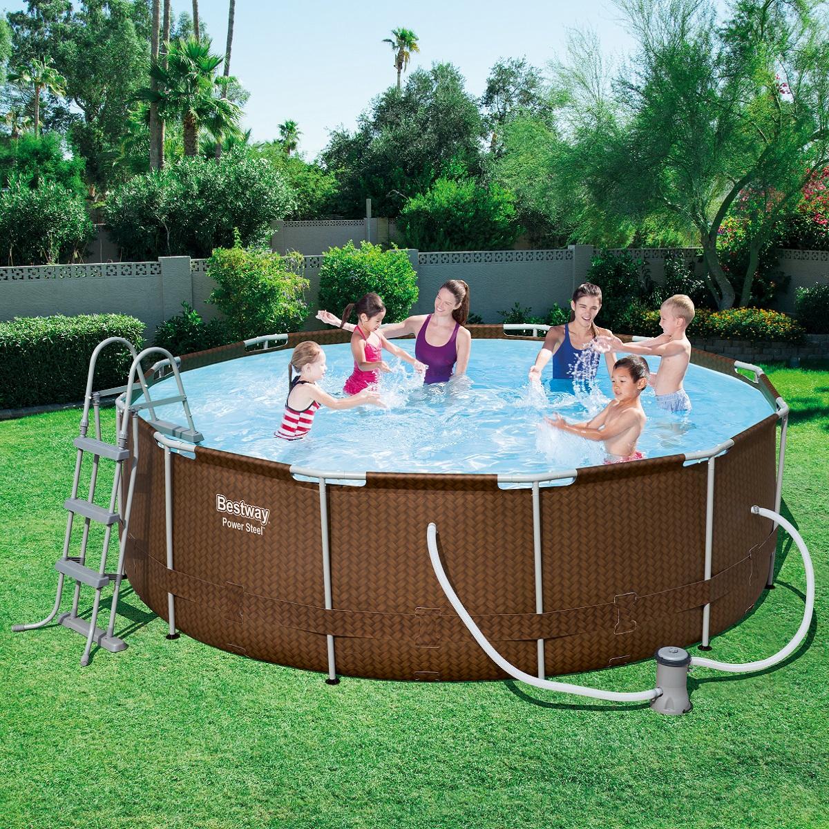 Bazén Steel Frame Pool 366 x 100 cm set s kartušovou filtrací - hnědý