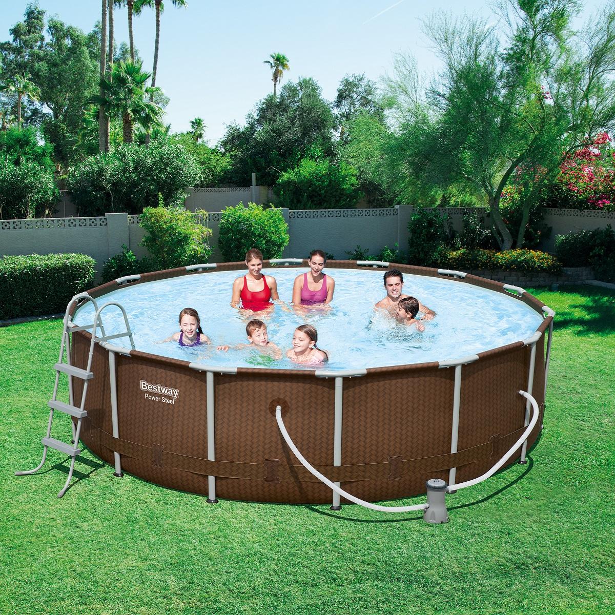 Bazén Steel Frame Pool 427 x 107 cm set s kartušovou filtrací - hnědý