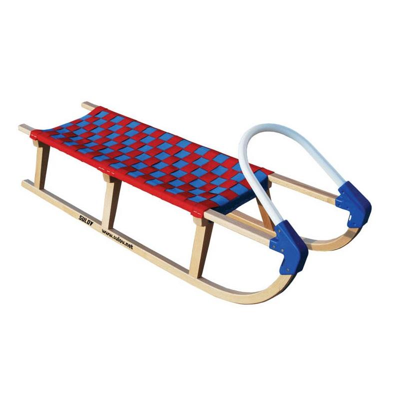 Sáně dřevěné SULOV Lavina délka 125 cm - červeno-modré