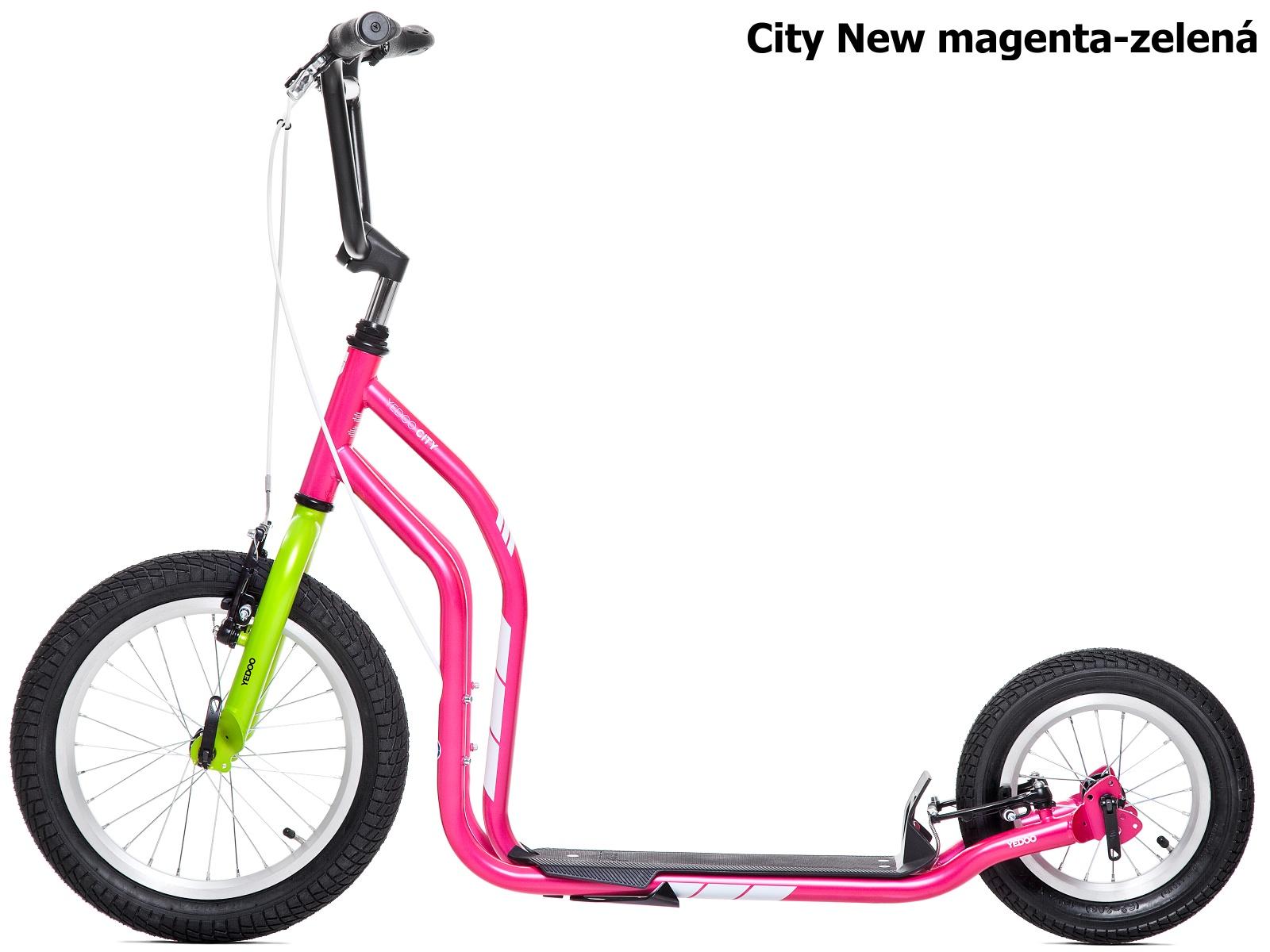 Koloběžka YEDOO City New 16-12 magenta-zelená