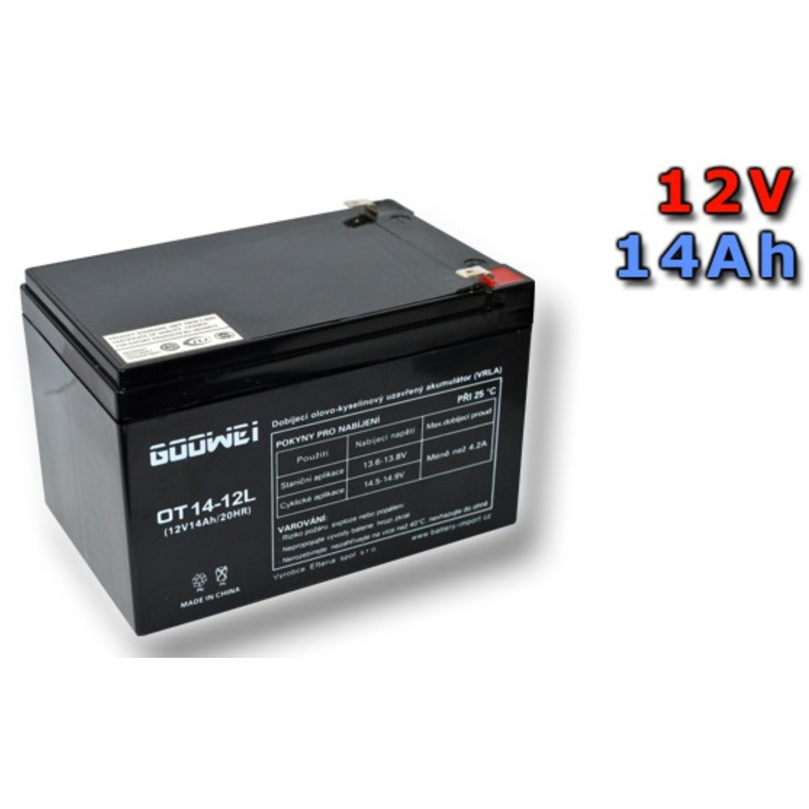 Trakční gelová baterie GOOWEI OTL14-12 14Ah