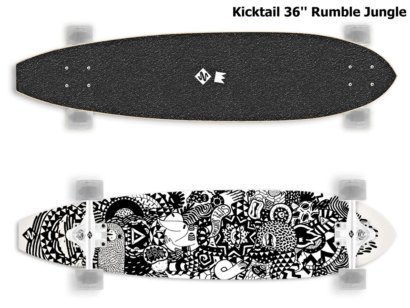 Longboard STREET SURFING Kicktail 36 Rumble Jungle