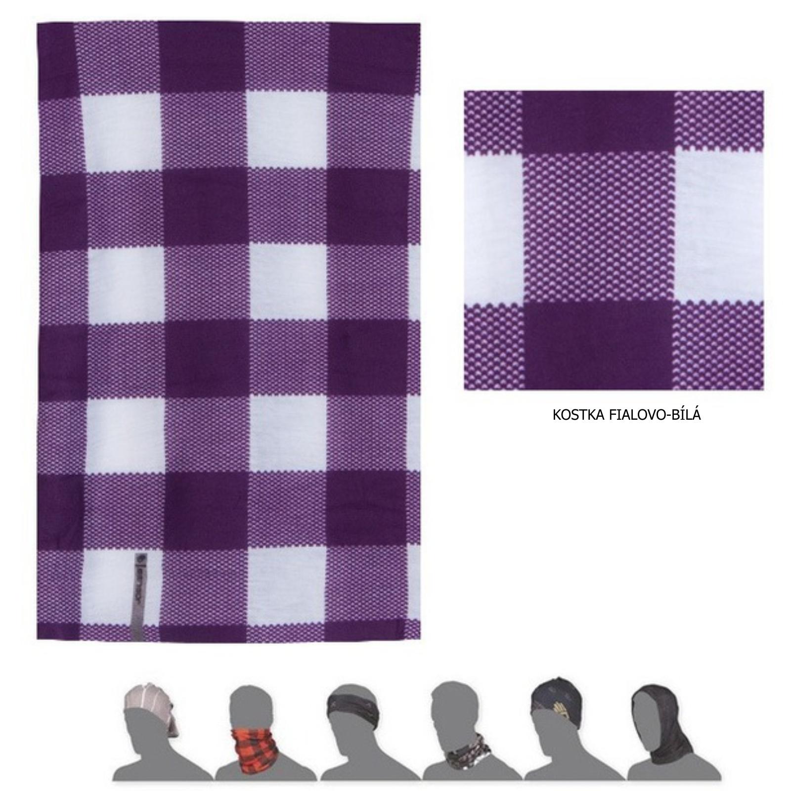 Šátek SENSOR Tube Kostka fialovo-bílý