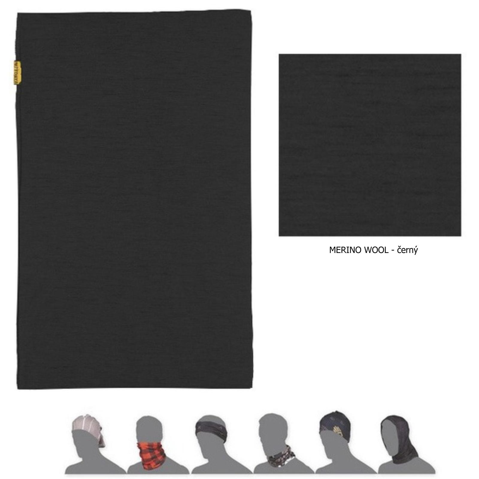 Šátek SENSOR Tube Merino wool černý