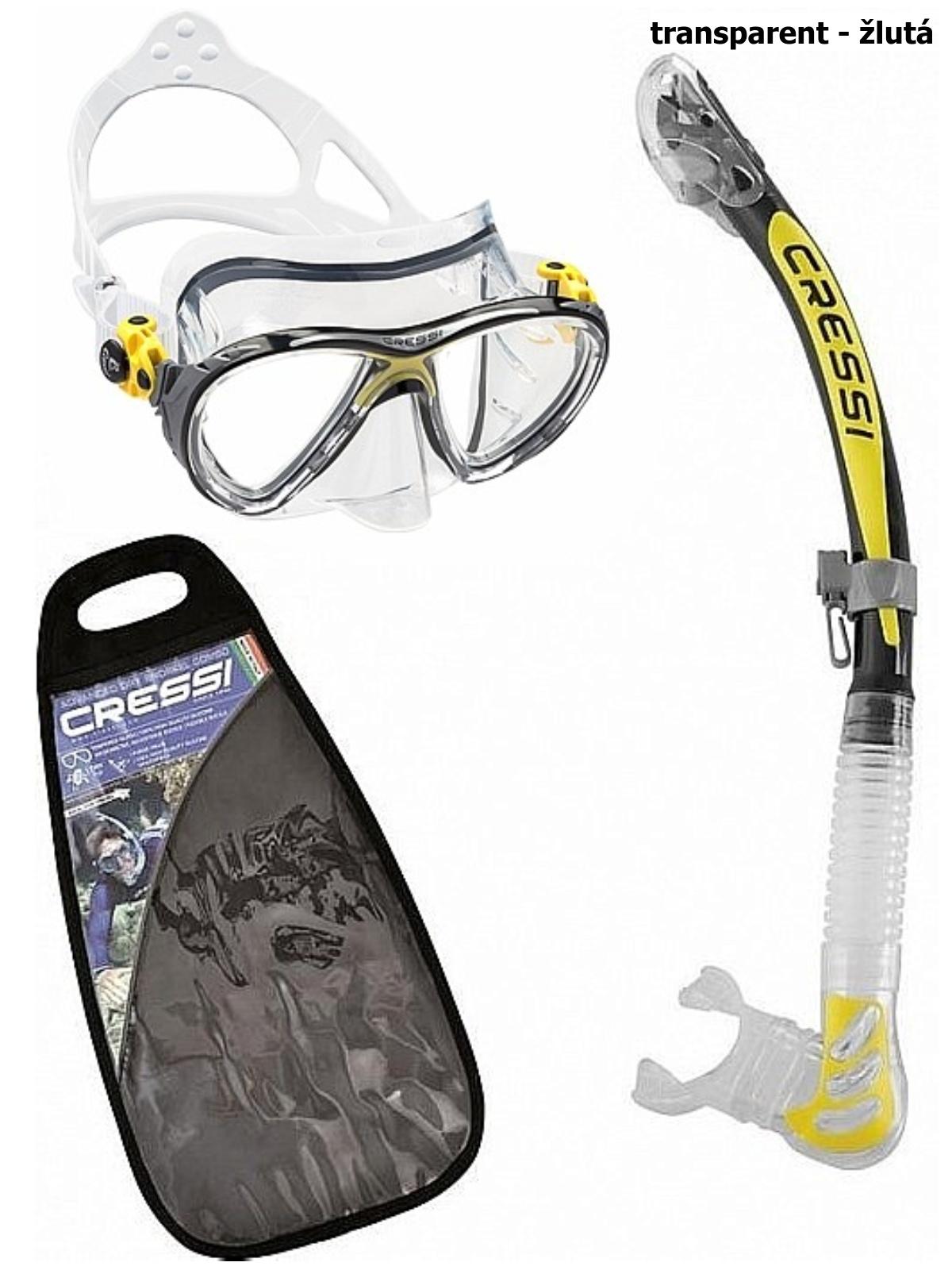 Potápěčský set CRESSI Big Eyes+Alpha Ultra Dry - transparent žlutá