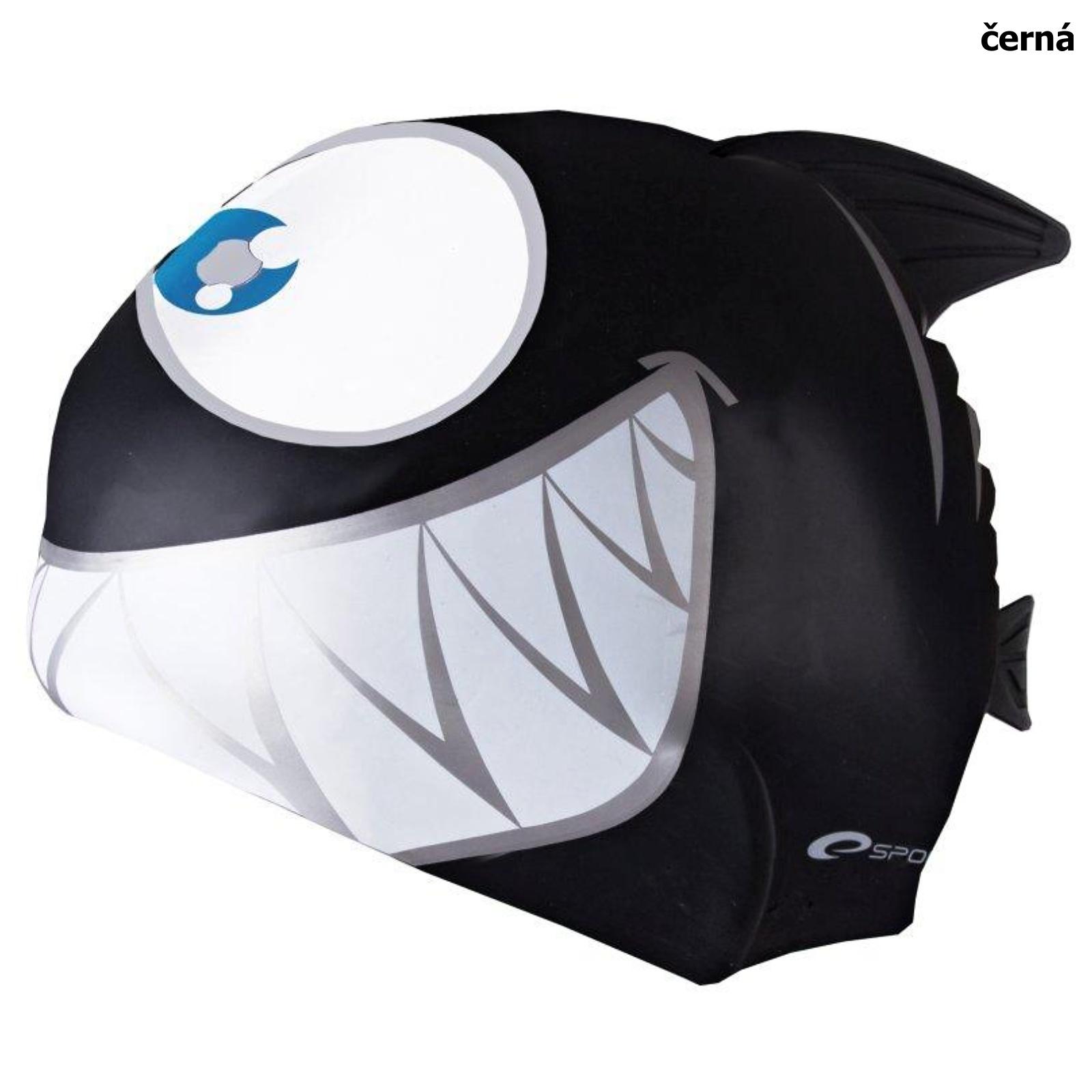 Plavecká čepice SPOKEY Rekinek - černá