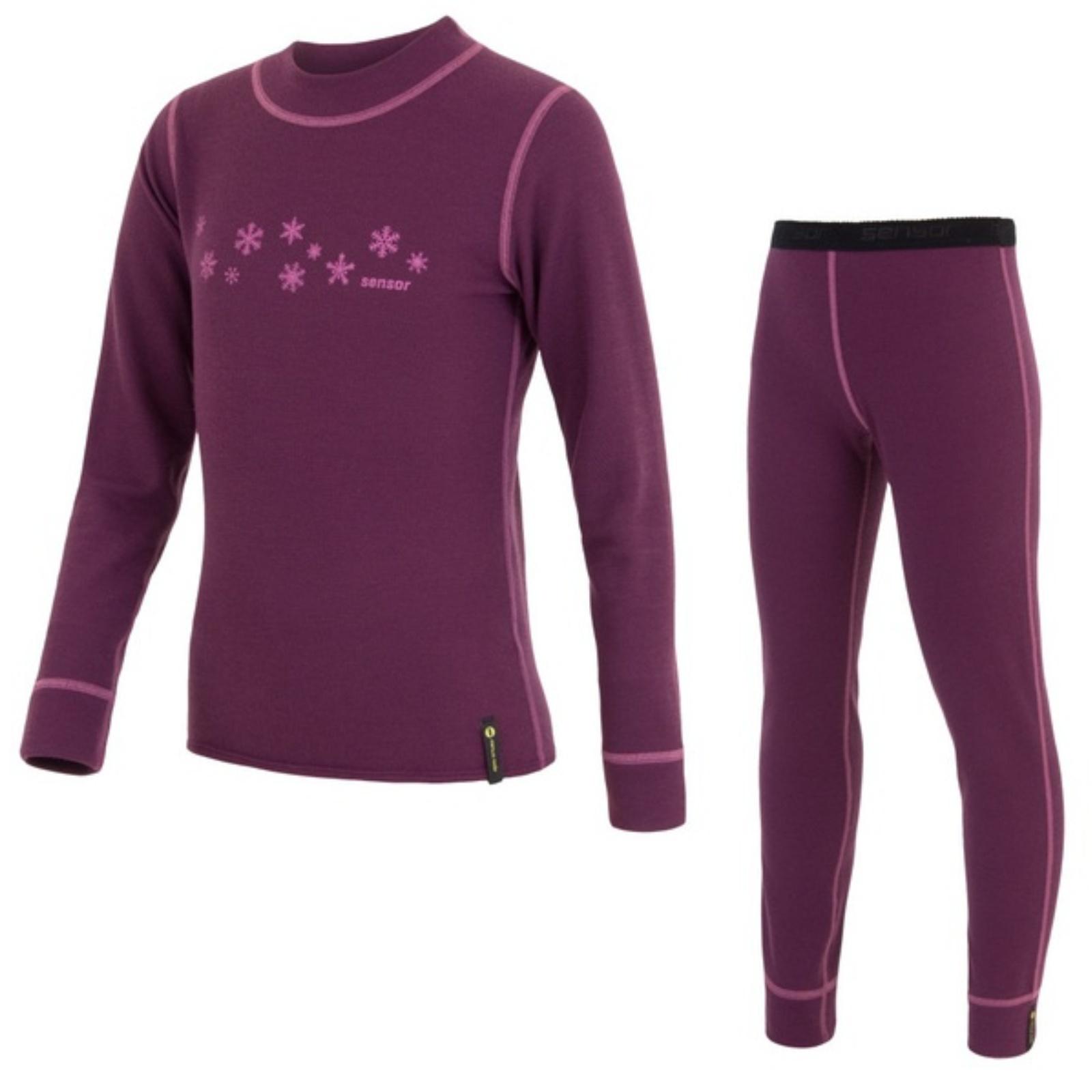 SENSOR DOUBLE FACE dětský komplet triko spodky vločky fialová